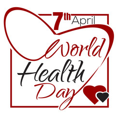 World Health Day. Typographic design. 7 April. Health Day lettering card. Vector illustration