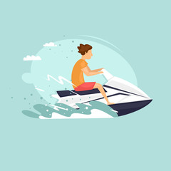 Man rides a jet ski. Isolated. World Travel. Planning summer vacations. Extreme sport. Flat design vector illustrations.