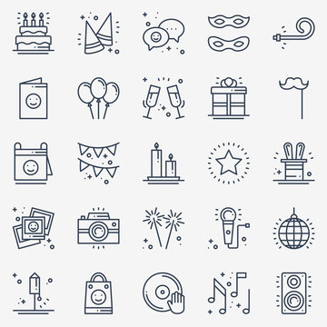 Party celebration thin line icons set. Birthday, holidays, event, carnival festive. Basic party elements icons collection. Vector simple linear design. Illustration. Symbols. Mask gifts cake firework