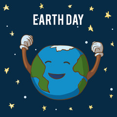 Cartoon Earth Illustration. Earth Day Poster. On dark background. Earth rejoices.