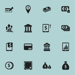 Set Of 16 Editable Finance Icons. Includes Symbols Such As Specie, Money Card, Coins Raise And More. Can Be Used For Web, Mobile, UI And Infographic Design.