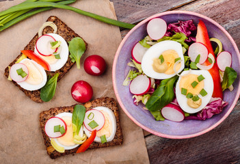 Healthy meal with eggs and vegetables