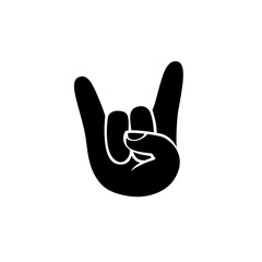 Rock icon. Hand sign of horns. Black on white