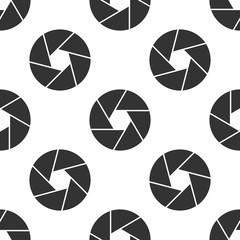 Camera shutter icon seamless pattern on white background. Vector Illustration