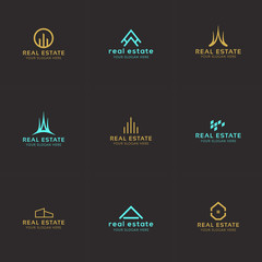 Set of real estate minimal logo templates. House, buildings, skyline creative abstract shapes for logo design.