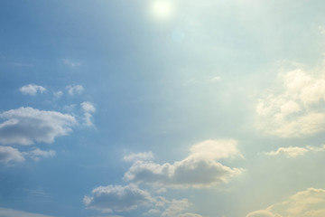 Image of sunlight on blue sky with cloud background(Top View)