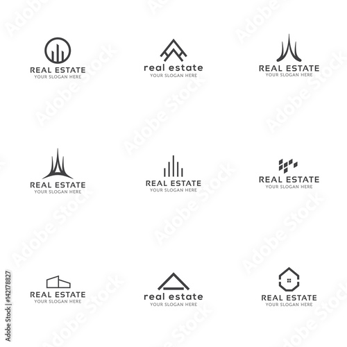 Set of real estate minimal logo templates house for Minimalist house logo