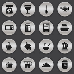 Set Of 16 Editable Cook Icons. Includes Symbols Such As Coffee, Dish, Wave Oven And More. Can Be Used For Web, Mobile, UI And Infographic Design.