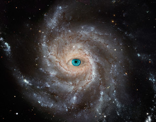 Pinwheel Galaxy with human eye. Some elements provided courtesy of ESA/Hubble