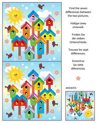 Spring is in the air! Visual puzzle: Find the seven differences between the two pictures of colorful birdhouses, birds and nestlings. Answer included.