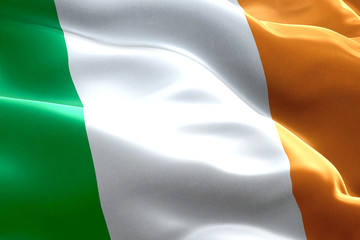 closeup of waving ireland celtic flag, national symbol of irish sign