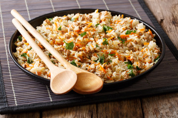 Fried spicy rice with minced meat and vegetables close-up. Horizontal