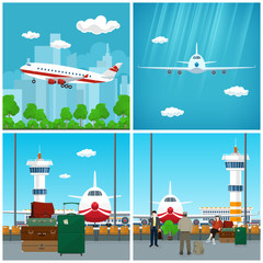 Airport , Waiting Room with People , View on Airplane through the Window and Luggage Bags for Traveling, Plane in the Sky, Airplane Flies to the West, Travel and Tourism Concept, Vector Illustration