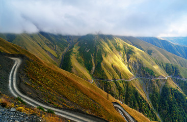 View in the Caucasus Mountains. Road to Omalo in Tusheti region. Georgia