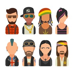Set icon different subcultures people. Hipster, raper, emo, rastafarian, punk, biker, goth, hippy. Vector flat illustration on white background