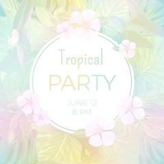 Pale vector tropical background with palm leaves and exotic flowers.