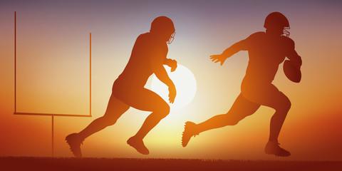 Football américain - sport - action - joueur - équipe - Coucher de soleil