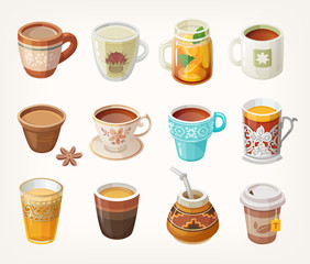 Set of colorful warm tea cups from all over the world for different occasions.