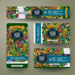 Corporate Identity vector templates set with doodles India theme