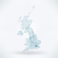 Fototapete - Abstract Telecommunication Network Map - United Kingdom
