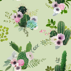 Vector Cactus and Flowers Seamless Pattern. Exotic Tropical Summer Botanical Background.