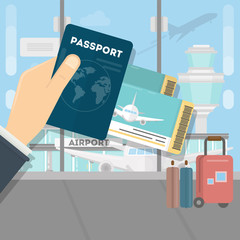Man with passport and boarding pass waiting flight inside of airport with a plane. Travel, vacation, Business trip concept. Vector illustration in flat design.