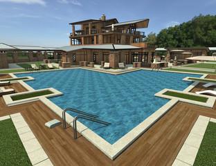 3D Rendering Country Resort