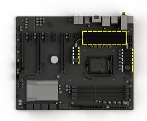 Top view of motherboard Isolated on white background, 3D rendering