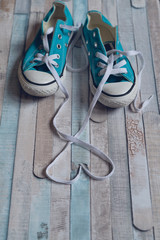Shoe Lace Heart.Heart shape made with laces of a blue sneakers.