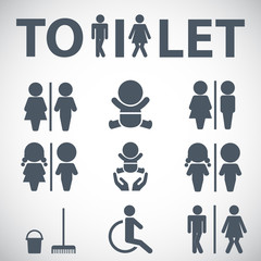 WC icon. Toilet sign. Vector  Illustration icons for print and web.