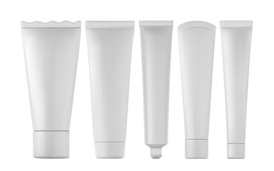 Set of realistic toothpaste tube products isolated. Vector 3d illustration
