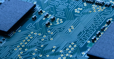 Close up Image of Electronic Circuit Board with Processors