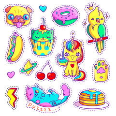 Neon stickers set in 80s-90s pop art comic style. Patch badges and pins with cartoon animals, sweet and fast food. Vector crazy doodles with cute unicorn, pug's head, cupcake cat etc.