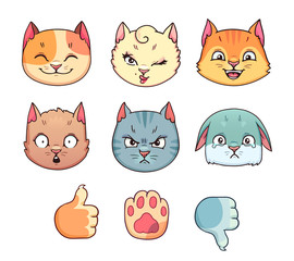Set of different cat emoji in vector. Hand drawn collection with cartoon feline character emotions and paw gestures on white background.
