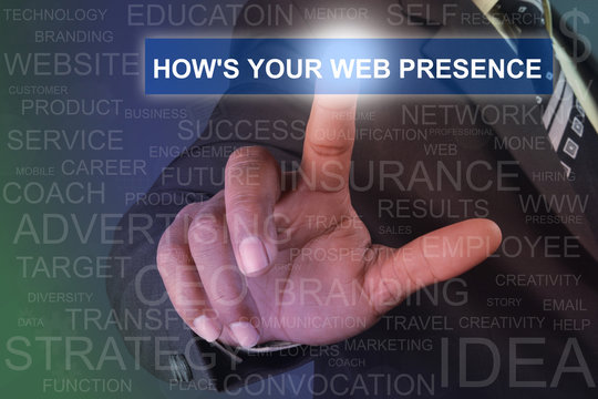 Businessman touching HOW'S YOUR WEB PRESENCE button on virtual screen