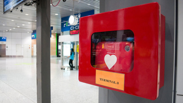 Heart defibrillator in public location in the International Airport for prepared to provide life-saving cardiopulmonary resuscitation.
