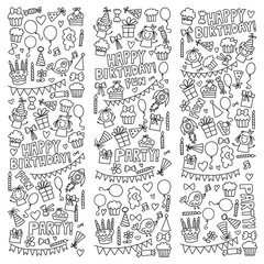 Vector kids party Coloring page Children birthday icons in doodle style Illustration with children, candy, balloon, boys, girls