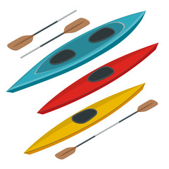 Rafting and kayaking icons collection. Isometric plastic kayak water recreational, touring or travel transport. Flat 3d illustration for infographics and design