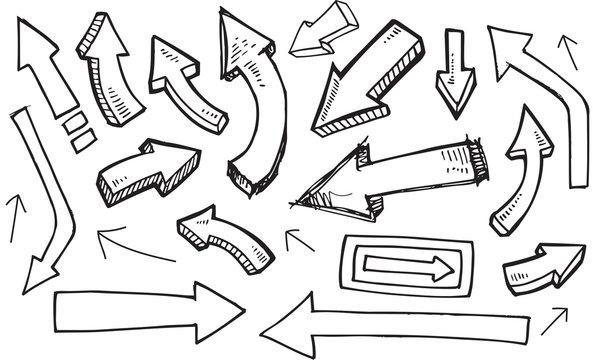 Arrow Doodle Vector Illustration Set