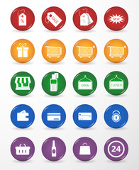 20 Buttons with Flat Shopping Icons. Vector isolated on White Background .