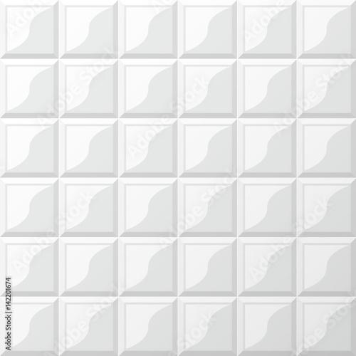 """Designer White Abstract Ceramic Wall Tile Pack Of 8 L: """"Illustration Of Rectangular Horizontal White Tiles"""