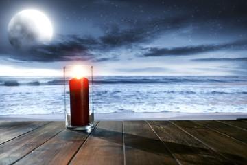 lamp and sea at night