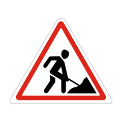 Road works sign, under construction. Warning red road sign, triangle shape with red border, working man isolated on white background. Illustration of warning sign about a roadwork. Vector