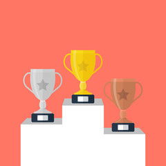 Gold, Silver and Bronze Trophy Cup on prize podium. First place award. Champions or winners Infographic elements isolated on white background. Vector illustration.