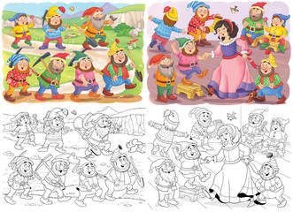 Snow White and the seven dwarfs. Fairy tale. Coloring page. Illustration for children. Cute and funny cartoon characters