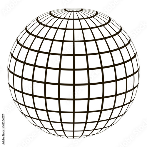 """3d globe with a coordinate grid Meridian and parallel ..."