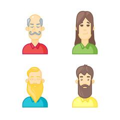 People cartoon avatars set.