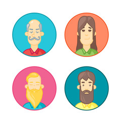 Circle icons set. People cartoon avatars collection.