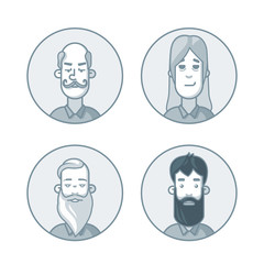Circle icons set in gray colors. People cartoon avatars collection.