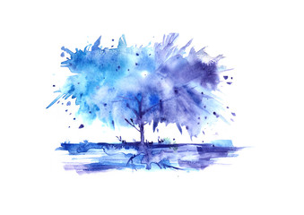 Watercolor tree. Blue paint color, vintage pattern, hand-drawn graphics, on isolated white background. Abstract stain, splash and splashes.